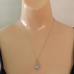 Jewelry - Sterling Silver Tear Drop Crystal Stone Necklace
